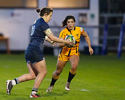 Kate Alder of Wasps ladies closes down Katy Daley-McLean of Sale Sharks Women   - Mandatory by-line: Nick Browning/JMP - 12/12/2020 - RUGBY - CorpAcq Stadium  - Sale, England - Sale Sharks Women v Wasps FC Ladies - Allianz Premier 15s