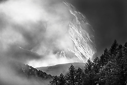 The Matterhorn emerging from it's perpetual cloud in Black and White