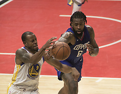 January 6, 2018 - Los Angeles, California, U.S - DeAndre Jordan #6 of the Los Angeles Clippers blocks Andre Iguodala #9 of the Golden State Warriors during their NBA game on Saturday January 6, 2018 at the Staples Center in Los Angeles, California. Clippers vs Warriors. (Credit Image: © Prensa Internacional via ZUMA Wire)