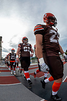 KELOWNA, BC - AUGUST 17:  Jackson Thomas #61 of Okanagan Sun heads to the field against the Westshore Rebels at the Apple Bowl on August 17, 2019 in Kelowna, Canada. (Photo by Marissa Baecker/Shoot the Breeze)