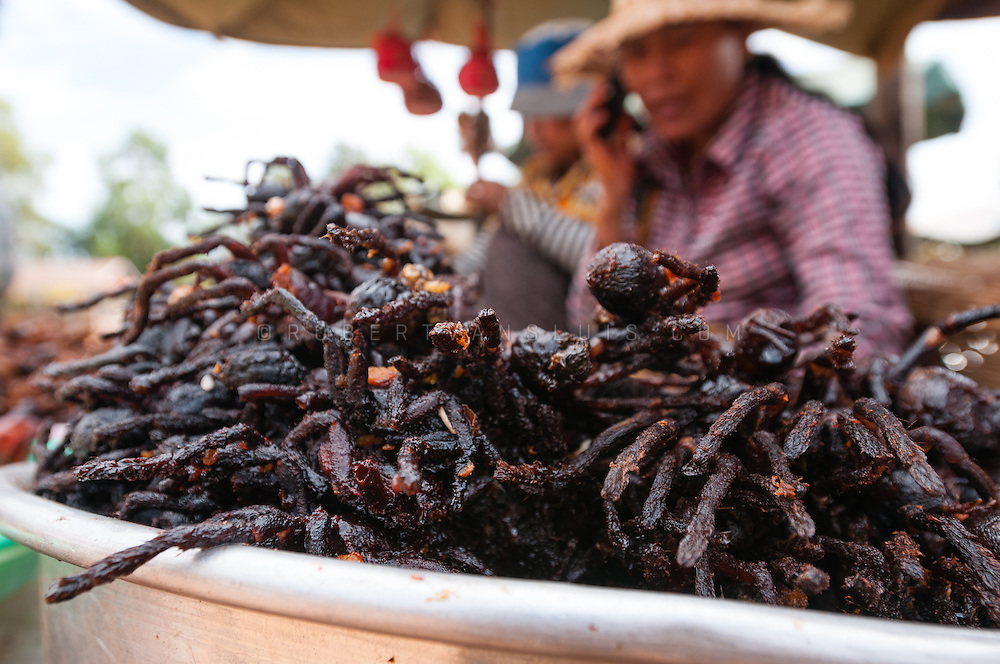 Deep fried spiders, a delicacy in Cambodia