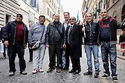 Al centro Domenico Scilipoti con supporters di Silvio Berlusconi a piazza del Popolo per partecipare alla Manifestazione del Popolo della Libertà. Roma, 23 marzo 2013. Christian Mantuano / OneShot
