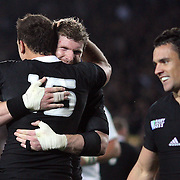 Israel Dagg, New Zealand, is congratulated by Adam Thomson (facing) after scoring a try during the New Zealand V France, Pool A match during the IRB Rugby World Cup tournament. Eden Park, Auckland, New Zealand, 24th September 2011. Photo Tim Clayton....