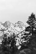 Banner and Ritter Peaks in winter, Ansel Adams Wilderness, Sierra Nevada Mountains, California USA