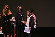 "19 January 2015-Santa Barbara, CA: The Arlington Theater Program; Essay/Poetry Winners-Ages 6-12 with Sojourner Kincaid Rolle and Amanda Kramer.  <br /> Essay - Ages 6-12<br /> 1st    Jaiani Hammonds      Franklin <br /> 2nd  Allison Mooney        Roosevelt<br /> 3rd   Maddie Fitz             Roosevelt <br /> 3rd   Charlie Hess            Roosevelt<br /> <br /> Poetry - Ages 6-12<br /> 1st   Celene Sanchez        Roosevelt<br /> 2nd  Lola Crane-Flores    Roosevelt<br /> 3rd   Owen Rybnicek        Roosevelt<br /> 3rd   Jeffrey Helman         Roosevelt<br /> <br /> Santa Barbara Honors Dr. Martin Luther King Jr. with a Day of Celebration.  The Santa Barbara MLK, Jr. Committee chose ""Drum Majors for Justice"" as it's theme for the day which included a Pre-March Program in De la Guerra Plaza followed by a march up State Street to the Arlington Theater for speakers, music and poetry.  The program concluded with a Community Lunch at the First United Methodist Church in Santa Barbara.  Photo by Rod Rolle"