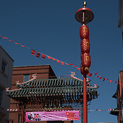 Chinatown London: decorated with big banner China flags and Union jack Congratulations on the Royal Wedding of  HRH Prince Harry and Meghan Markle Wedding on 19 May 2018, London, UK.