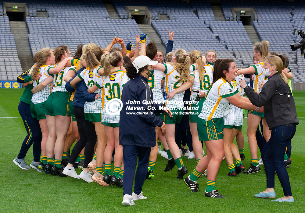 26-06-21. Meath v Kerry - Lidl Ladies National Football League Division 2 Final at Croke Park.<br /> Meath players celebrating at the final whistle.<br /> Photo: John Quirke / www.quirke.ie<br /> ©John Quirke Photography, 16 Proudstown Road, Navan. Co. Meath. (info@quirke.ie / 046-9028461 / 087-2579454).