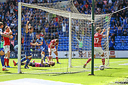 GOAL 1-1 Cardiff City forward Kieffer More (10) scores the equalising goal during the EFL Sky Bet Championship match between Cardiff City and Bristol City at the Cardiff City Stadium, Cardiff, Wales on 28 August 2021.