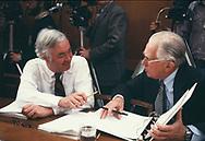Washington, DC  1981/03/01 Senators Daneil Moynihan and Howard  Metzenbaum at a senate hearing.<br />Photo by Dennis Brack
