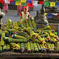 Nepal, Kathmandu. Prayer Flags at Swayambunath Temple.