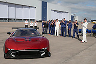 Glamorgan cricket players admire an Aston Martin .Glamorgan CC media day and photocall at Aston Martin, St Athan, near Cardiff , South Wales on Thursday 6th April 2017.<br /> pic by Andrew Orchard, Andrew Orchard sports photography.