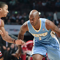 08 November 2010: Denver Nuggets' point guard #1 Chauncey Billups dribbles against Chicago Bulls' point guard #1 Derrick Rose during the Chicago Bulls 94-92 victory over the Denver Nuggets at the United Center, in Chicago, Illinois, USA.