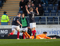 Forfar Athletic's Chris Templeman brought  down for their penalty..half time : Falkirk v Forfar Athletic, Scottish Cup fifth round tie, 2/2/2013. .©Michael Schofield.