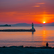 Munkhulmen and Lade Lighhouse in a golden sunset