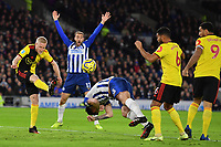 Football - 2019 / 2020 Premier League - Brighton & Hove Albion vs. Watford<br /> <br /> Brighton & Hove Albion's Glenn Murray appeals for a penalty for handball against Watford's Will Hughes, at the Amex Stadium.<br /> <br /> COLORSPORT/ASHLEY WESTERN