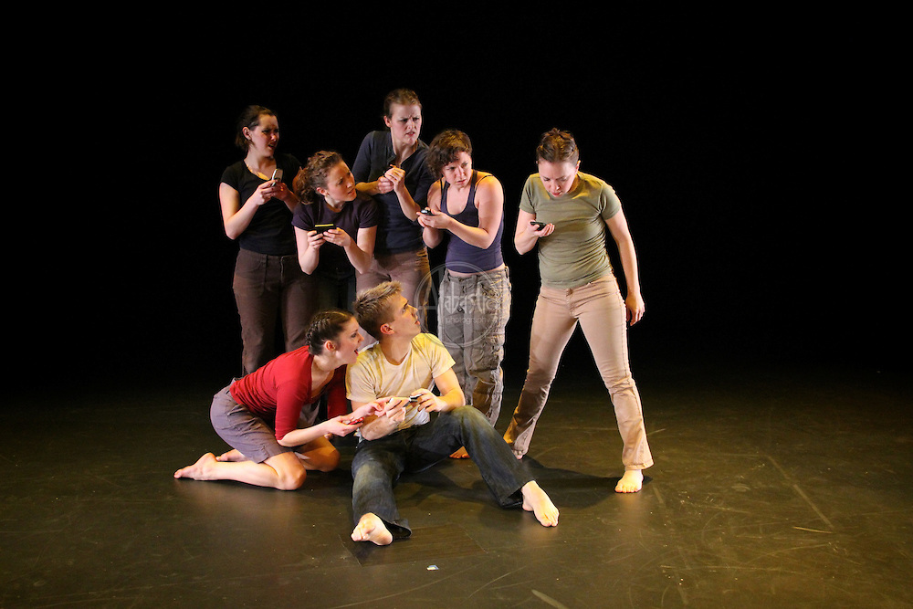"""Karin Stevens Dance performing """"Tethered Selves"""" with the Starry Night Chamber Orchestra at The Black Box Theatre at Edmonds Community College."""