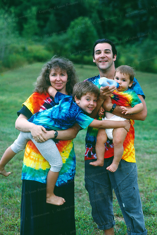 Mandy Patinkin with wife Kathryn Grody and sons Isaac and Gideon at their upstate New York Home.  Taken right before the film Princess Bride came out.
