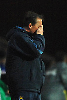 Photo: Paul Greenwood.<br />Blackburn Rovers v West Ham United. The Barclays Premiership. 17/03/2007.<br />West Ham manager Alan Curbishley cant bear to watch in the final few minutes