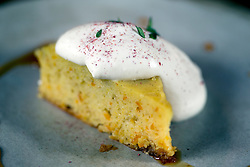 Clementine almond cake with carmelized honey, coconut and thyme, at The Progress restaurant, Tuesday, Dec. 15, 2015, in San Francisco, Calif. (Photo by D. Ross Cameron)