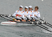 Munich, GERMANY, 31.08.2007,  GER W4X. Bow, Kathrin BORON, Manuela LUTZE, Britta OPPELT, Stephanie SCHILLER,  moving away from the start in their Semi Final. Sixth day, at the 2007 World Rowing Championships, taking place on the   Munich Olympic Regatta Course, Bavaria. [Mandatory Credit. Peter Spurrier/Intersport Images].... , Rowing Course, Olympic Regatta Rowing Course, Munich, GERMANY