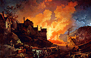 Coalbrookdale by Night, Philippe Jacques de Loutherbourg, 1801.  Coalbrookdale is a village in the Ironbridge Gorge in Shropshire, England, containing a settlement of great significance in the history of iron ore smelting.  This is were iron ore was first