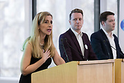 Sandra Khadhouri, Head of Communications, James Clarke, Head of Outreach and James Torrence, Head of Strategy at the launch of of Renew, the new pro-remain political party at the Queen Elizabeth II conference centre in London, England on February 19th, 2018. The Renew Party plans to fight elections from a platform of remaining in the European Union EU.