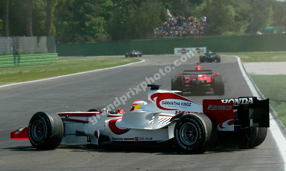 Yuji Ide (Super Aguri-Suzuki) had several spins during practice for the 2006 San Marino Grand Prix at Imola. Photo: Grand Prix Photo