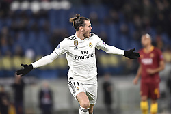 November 27, 2018 - Rome, Rome, Italy - Gareth Bale of Real Madrid celebrates scoring first goal during the UEFA Champions League match between Roma and Real Madrid at Stadio Olimpico, Rome, Italy on 27 November 2018. (Credit Image: © Giuseppe Maffia/Pacific Press via ZUMA Wire)