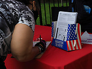 This voter is taking advantage of the opportunity to update her registration at one of the in-person voter registration sites set up by DC's Board of Elections.