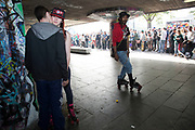 1 year on skateboard jam at the Undercroft to celebrate the first 12 months of the Long Live South Bank campaign. The undercroft of the foyer building of the Queen Elizabeth Hall on the South Bank has been popular with skateboarders since the early 70's and it is widely acknowledged to be London's most distinctive and popular skateboarding area. The area is used by skateboarders, BMXers, graffiti artists, taggers, photographers, buskers, and performance artists, among others. Although this informal activity, social and arts scene is a distinctive feature of the Southbank Centre site, it was proposed that the area would be redeveloped. However a statement from the Prime Minister's office may save the undercroft for these uses.