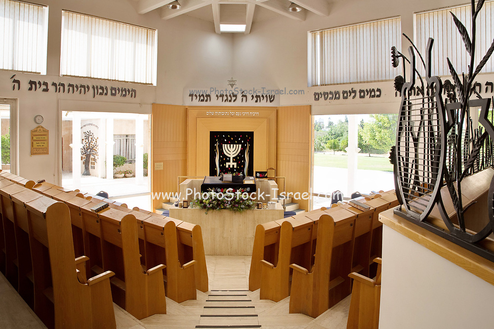 Interior of an empty synagogue, Israel