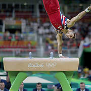 Gymnastics - Olympics: Day 3   Samuel Mikulak #195 of the United States performing his Pommel Horse routine during the Artistic Gymnastics Men's Team Final at the Rio Olympic Arena on August 8, 2016 in Rio de Janeiro, Brazil. (Photo by Tim Clayton/Corbis via Getty Images)