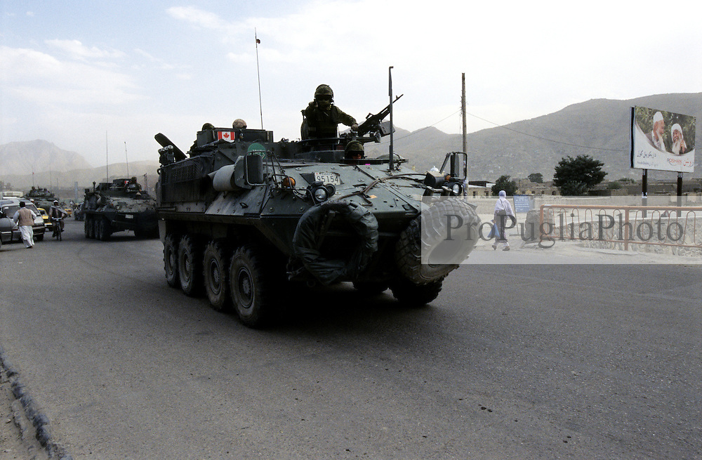 Kabul, 07 Augist 2005...Canadian Troops on tanks patrolling the streets of Kabul