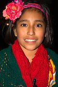 Mexican costumed Halloween flower girl age 11.  St Paul Minnesota USA