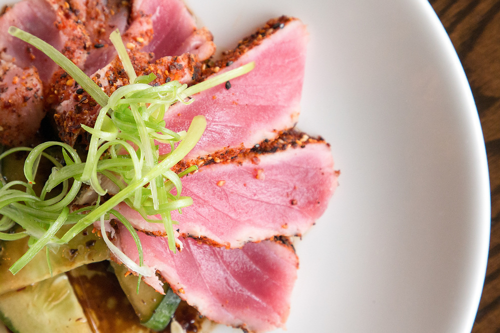 A Togarashi Spiced Rare Tuna appetizer featuring<br /> asian cucumber salad and green onion served at Johnny's Tavern located at 30 Boltwood Walk in Amherst on July 25, 2018. (Chris Marion / The Republican)