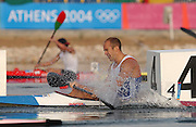 20040827 Olympic Games Athens Greece .[Canoe/Kakak Flatwater Racing] .Lake Schinias - Firday Finals day.GBR KI Tim Brabant's,show's his dissapointment, after crossing the finishing line fifth, in the men's Olympic K1  1000m final.. .Photo  Peter Spurrier.email images@intersport-images.com...