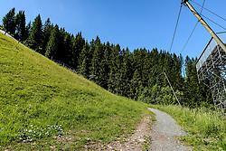 THEMENBILD - Der Blick zurück in die Steilhang ausfahrt, aufgenommen am 26. Juni 2017, Kitzbühel, Österreich // The view back into the steep slope exit at the Streif, Kitzbühel, Austria on 2017/06/26. EXPA Pictures © 2017, PhotoCredit: EXPA/ Stefan Adelsberger