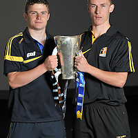 23 August 2010; ESB, proud sponsor of the GAA All-Ireland Minor Championship is creating Positive Energy ahead of this year's ESB GAA Minor Hurling Championship Final in Croke Park on Sunday 5th September, where Kilkenny will face Clare. Pictured in Semple Stadium are, from left, Clare captain Paul Flanagan, left, with Kilkenny captain Cillian Buckley. Clare will be looking to upset the history books by adding to their maiden 1997 All Ireland victory, whilst Kilkenny will be trying to wrestle back the title they lost last year to Galway and add to their unrivalled 19 Minor Championships to date. ESB GAA Hurling All-Ireland Minor Championship Final Captains Photocall, Semple Stadium, Thurles, Co. Tipperary. Picture credit: Brendan Moran / SPORTSFILE *** NO REPRODUCTION FEE ***