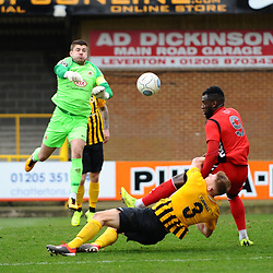 TELFORD COPYRIGHT MIKE SHERIDAN 2/3/2019 - Amari Morgan Smith of AFC Telford battles for the ball in the penalty area during the National League North fixture between Boston United and AFC Telford United at the York Street Jakemans Stadium