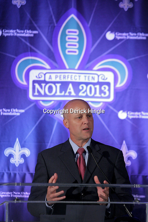 Sep 2, 2009; New Orleans, LA, USA; Mitch Landrieu lieutenant governor for Louisiana talks during a Super Bowl XLVII press conference at the New Orleans Convention Center and Bureau.   Mandatory Credit: Derick E. Hingle-US-PRESSWIRE