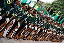 DURBAN, Feb. 21, 2017  Honor guard of South African National Defence Force (SANDF) take part in the parade marking the Armed Forces Day in Durban, South Africa, on Feb. 21, 2017. South Africa celebrated its Armed Forces Day here on Tuesday.  gl) (Credit Image: © Zhai Jianlan/Xinhua via ZUMA Wire)