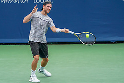August 15, 2018 - Mason, Ohio, USA - Adrian Mannarino (FRA) in action during Wednesday's second round of the Western and Southern Open at the Lindner Family Tennis Center, Mason, Oh. (Credit Image: © Scott Stuart via ZUMA Wire)