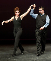 """Gina McGuire and Eric Proulx the General Manager Tanger Outlet in Tilton get a chance to practice their dance moves for """"I'm Too Sexy for my Shirt"""" Thursday evening at Inter Lakes auditorium in preparation for Friday evenings Dancing with the Lakes Region Stars benefiting ILHS Habitat for Humanity Club.   (Karen Bobotas/for the Laconia Daily Sun)"""