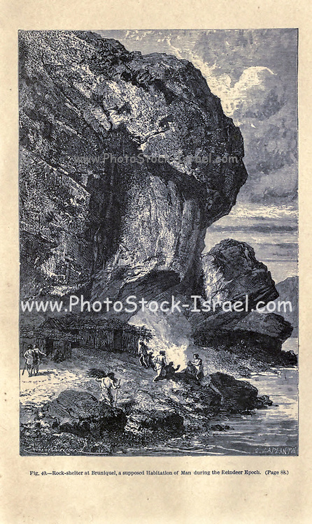 Neanderthal man under the rock shelter of the Bruniquel Cave, France in prehistoric times. according to the French illustrator Emile Bayard (1837-1891), illustration Artwork published in Primitive Man by Louis Figuier (1819-1894), Published in London by Chapman and Hall 193 Piccadilly in 1870