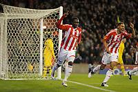 20111020: STOKE ON TRENT, ENGLAND -UEFA Europe League Group E: Stoke City vs Maccabi Tel-aviv.<br /> In photo: Kenwyne Jones celebrates scoring the first goal of the game for Stoke City.<br /> PHOTO: CITYFILES