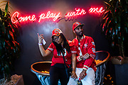 SAN FRANCISCO, CA - FEBRUARY 02: Billy Courtney and Jasmine Davis of San Francisco, California have fun during a Super Bowl LIV watch party at SPIN San Francisco on February 2, 2020 in San Francisco, California. The San Francisco 49ers face the Kansas City Chiefs in Super Bowl LIV for their seventh appearance at the NFL championship, and a potential sixth Super Bowl victory to tie the New England Patriots and Pittsburgh Steelers for the most wins in NFL history. (Photo by Philip Pacheco/Getty Images)
