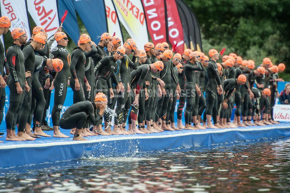 Swim start, U23 World Triathlon Championships Men, Hyde Park London, UK on 12 September 2013. Photo: Simon Parker