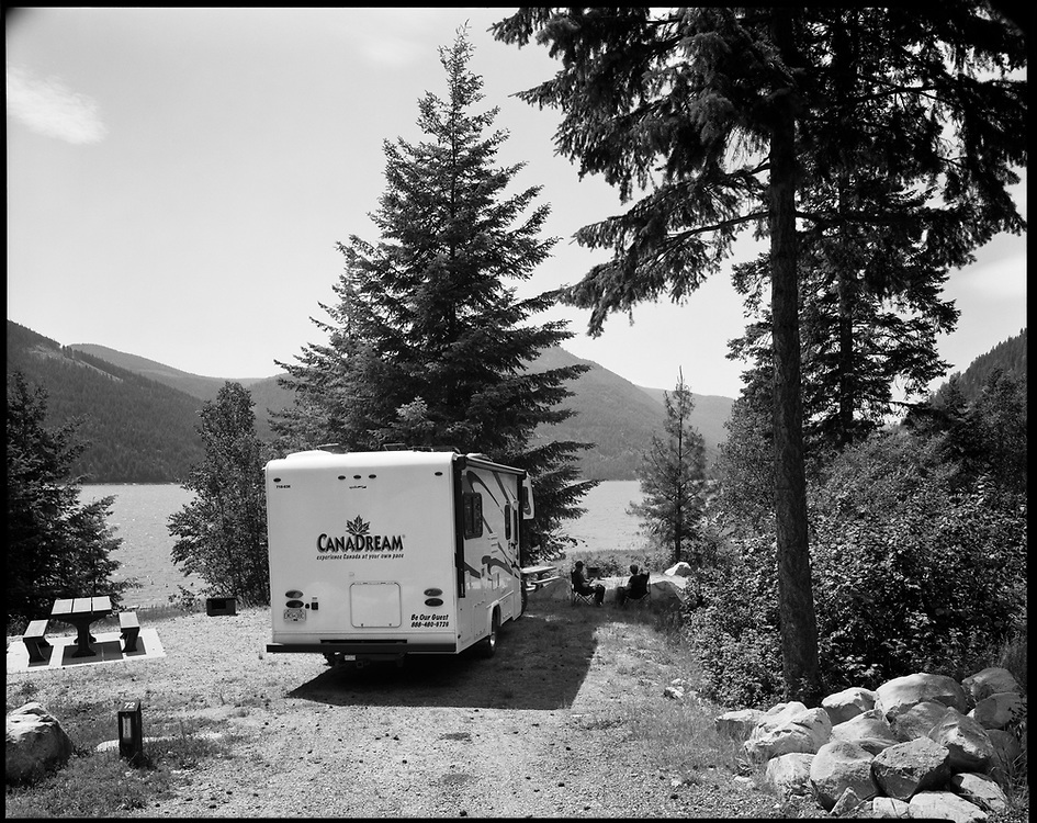 German Campers in rented RV, at Syringa Provincial Park, Lower Arrow Lake, near Castlegar, British Columbia Ancestral lands of the Sinixt People.