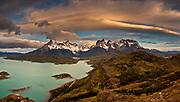 Windcloud over Cuernos del Paine at dawn, Lago Pehoe, Parque Nacional Torres del Paine Patagonia, Chile.