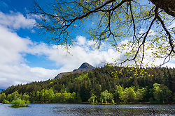 Glencoe Lochan and Pap of Glencoe mountain in Scotland, UK